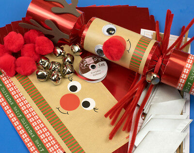 8 JUMBO Red Foil Jingle Rudolph Make Your Own Christmas Crackers Kit