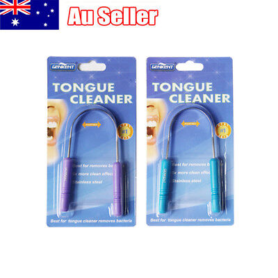 2x Tongue Cleaner Stainless Steel Handle Tongue Scraper Oral Hygiene Dental