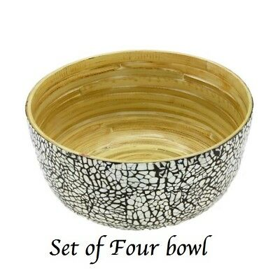 Eco-Friendly Set of 4 Kitchen Bamboo Bowl Serving Salad, Pasta, Soup , BPA Free