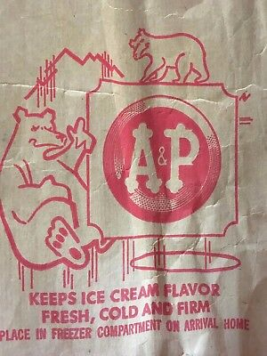 Vintage A&P grocery store ice cream paper bag Polar Bears advertising 60s 70s