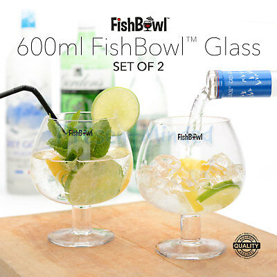 Fish Bowl Glasses Set of 2 600ml Copa Glasses FishBowl™ Gin Vodka Cocktail Glass
