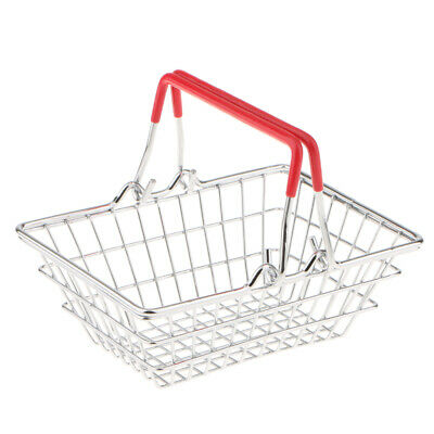 Wire Mesh Storage Basket with Carry Handle Mini Shopping Basket Crate Red