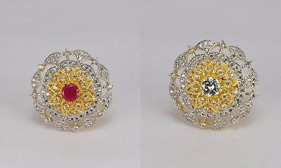 Real look AD Indian handmade wedding fine quality women finger ring adjustable