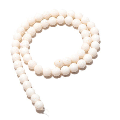 White Coral Round Beads Textured Coral 8mm Round Beads 15 Inch Strand A126