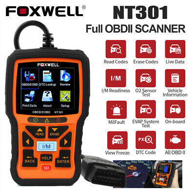 FOXWELL NT301 OBDii OBD2 Auto Code Reader Diagnostic Tool CAN Live Data AU Stock