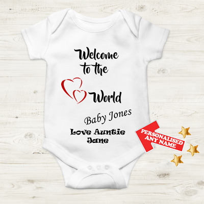 Personalised Auntie Baby Grow Body Vest Christmas Gift Present Welcome To World