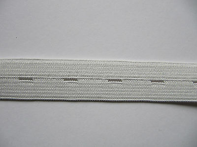 Buttonhole Elastic 19mm White Ideal Maternity Wear School Uniform 1.5 m lots