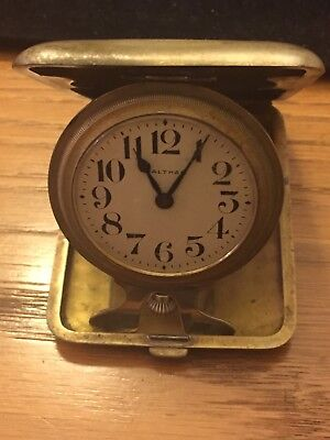 Antique 1910's Waltham Art Deco Portable Travel Clock w/Clam Shell Case- Working