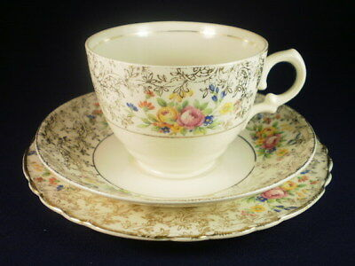 Royal Staffordshire Gold & White Floral Trio