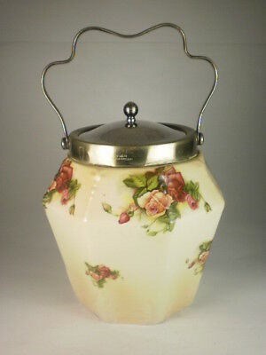 Vintage English Red & Yellow Roses Biscuit Barrel