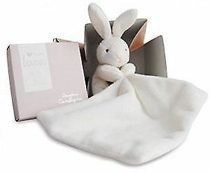 Doudou et Compagnie 10 cm Natural Rabbit And Towelling Doudou with Gift Box