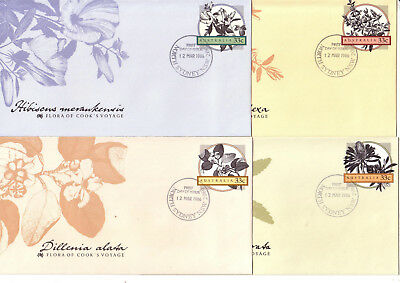 FDC PSE (#14) 4 covers 1986 Flora of Cook's Voyage