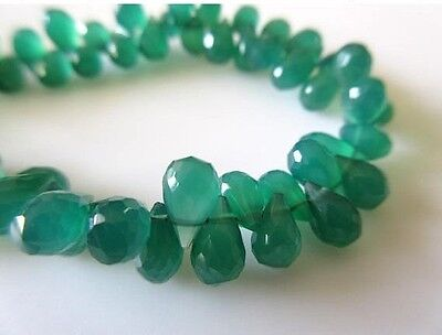 Faceted Green Onyx Tear Drop Briolette Beads 8mm Beads 8 Inch Strand GDS720