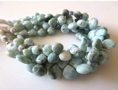 Natural Larimar Faceted Heart Shaped Briolette Beads 9-11mm 8 Inch Strand GDS710