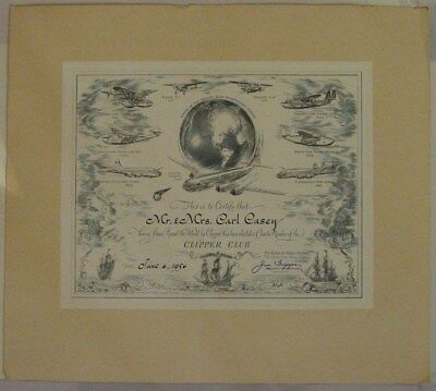 Pan American World Airways Round the World Clipper Certificate & Membership Card