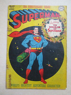 SUPERMAN # 53 - 10TH ANNiVERSARY ISSUE - 3RD TELLING OF SUPERMAN ORIGIN STORY