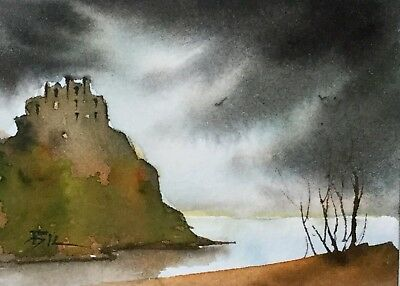 ACEO Original Art Watercolour Painting by Bill Lupton  - Castle on the Rock