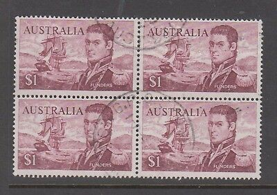 Australia 1966 $1 Finders postaly used block 4 stamps