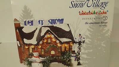 Dept 56 Snow Village Christmas Lane The Snowman House 55390 New MIB