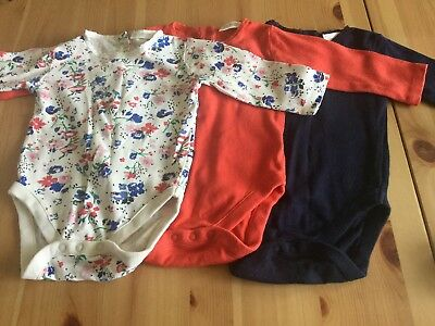 Next Long Sleeve Vests 3 Pack Red,Navy and Floral 3-6 Months Baby Girl