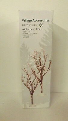Dept 56 Village Accessories Winter Berry Trees Set of 2 4020263 New MIP