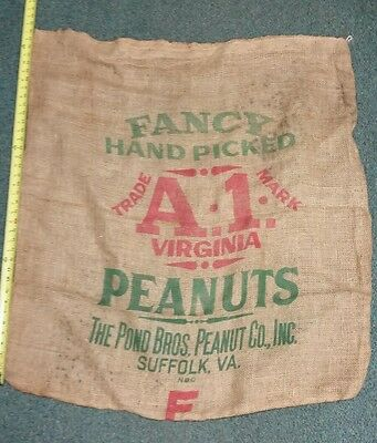 Pond Bros Hand Picked A1 Virginia Peanuts Burlap Gunny Sack.Suffolk Va.