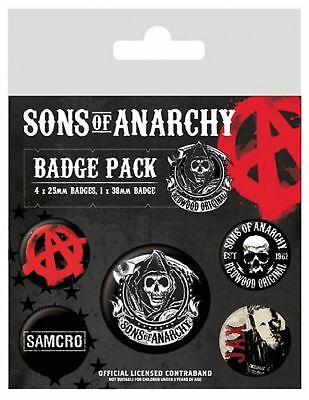 Sons Of Anarchy Badge Pack SAMCRO reaper logo new Official 5 X button One Size