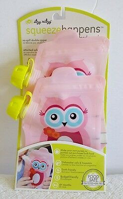 NIP Itzy Ritzy Squeeze Happens 2 Reusable Baby Food No Spill Pouches Pink Owl