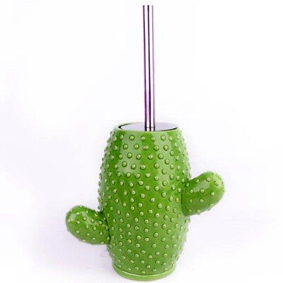 Cactus Toilet Brush Novelty Green Bathroom Cleaner Gift Wc Loo Plant Ceramic New