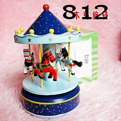 Chinese Wooden & Plastic cement Handmade Carousel model music box XY27720