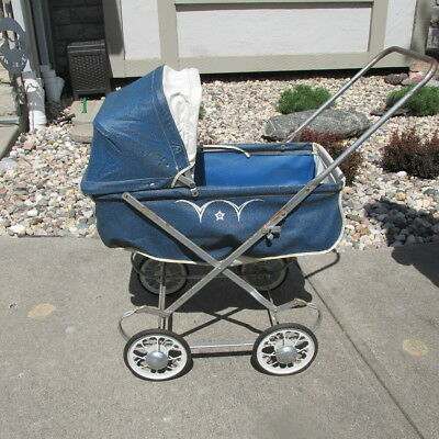 Vintage South Bend Collapsible Blue White Doll Baby Carriage Stroller