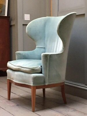 Edword Wormley for Dunbar Wingback Pale Blue Chair