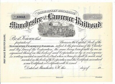 Manchester And Lawrence Railroad ( New Hampshire)....1900's Unissued Certificate