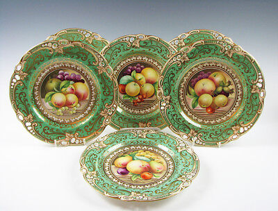 Set of 6 Early English Porcelain Hand Painted Fruit Plates early 19th C Antique