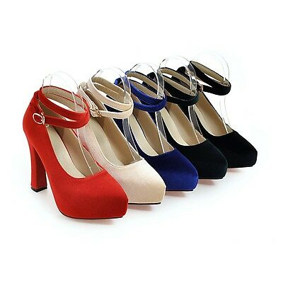 Synthetic Pumps Crossed Strap Thick High Heel Pumps Women Shoes AU All Size s110