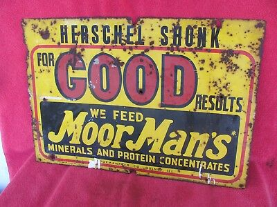 Old Vintage MoorMan's Feed Cow Pig Chicken Farm Advertising Metal Sign QUINCY IL