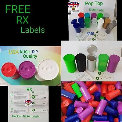 RX 13dram-1-2g smellproof POP top MEDICAL CANNABIS TUBS free labels x2