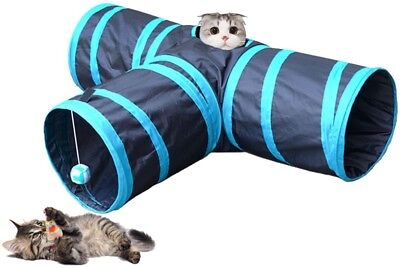 Longwu Pet Fun Collapsible 3 Way Cat Tube Play Toy With Crinkle Crackle Paper