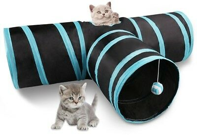 Miaosun Cat Tunnel, 3 Way Collapsible Pet Cat Play Tunnel With Ringing Ball,