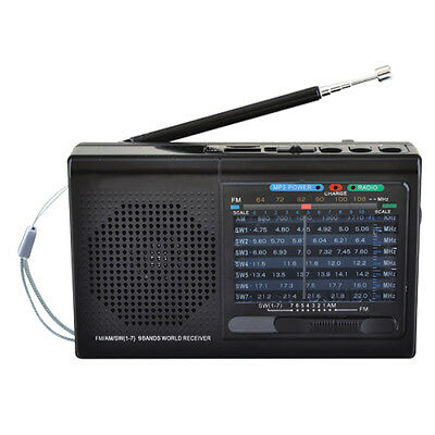 Supersonic Black 9-Band Radio with Bluetooth/USB/MicroSD-In SC-1080BT