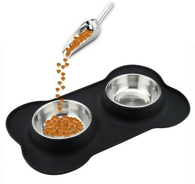 Dog Cat Bowl,Small Pet Bowl,Double Stainless Steel Pet Water And Food Feeder