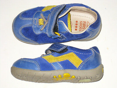CLARKS First Shoes Boys blue 4.5 F toddler VGC! Trainers Infant