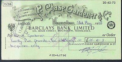 Cheque R Chase Gardener Ltd Hounslow 1965 Barclays Bank Limited High Street
