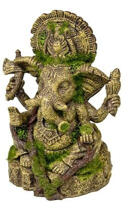 Rosewood Polyresin Moss Covered Statue Of Ganesha Aquarium Ornament