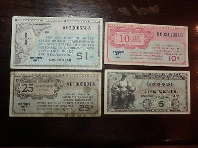 Lot of  4 US Military Payment Certificate MPC Series 461,471,481 5 10 25 $