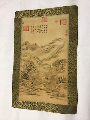 Vintage Old Signed Chinese Japanese Scroll Painting Landscape Mountains
