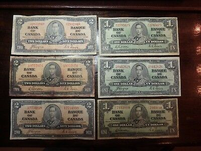 6 Old 1930's Canada Canadian Paper Money bank notes
