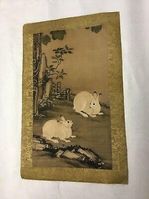Vintage Old Signed Chinese Japanese Scroll Painting Rabbits