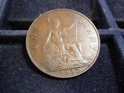 1932 Great Britain Large Penny In Very Fine Condition M-171