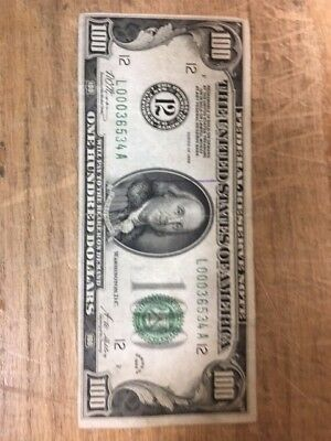 1928 $100 One Hundred Dollars Gold Certificate Currency Note